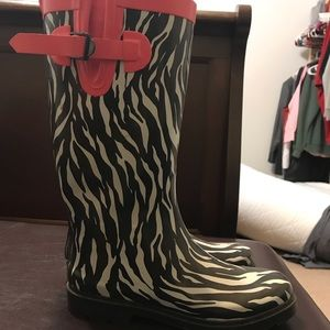 Zebra stripe rain boots